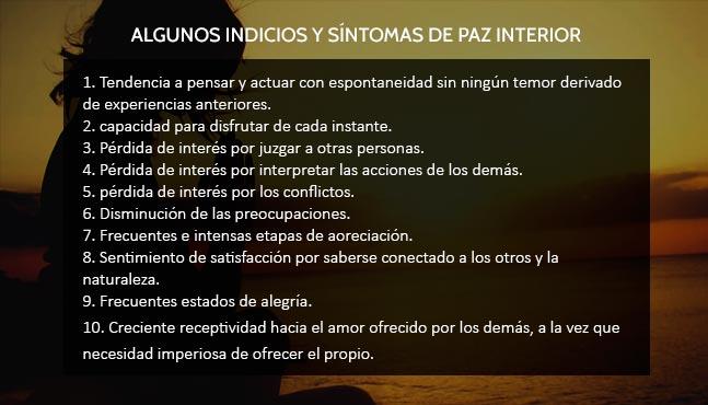 10 síntomas de paz interior