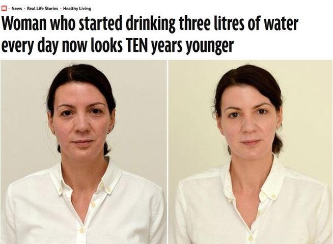 \'Rejuvenece\' en un mes bebiendo tres litros de agua al día
